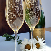 Pair of hand engraved champagne flute glasses with your own messages
