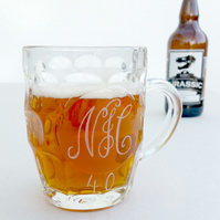 Personalised pint beer mug husband gift hand engraved