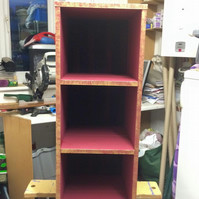 Upcycled burgundy shelf unit