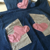 Upcycled apron: denim with decorative heart detail