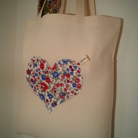 Gift for mum-Liberty Print Heart Applique Cotton Bag.
