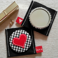 Compact Pocket Mirror and Pouch in Gingham with Heart Applique.