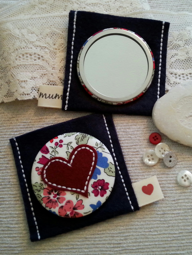 Gift for mum-Liberty Print Heart Applique Mirror and Pouch.