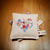 Gift for mum-Pair of Liberty Print Heart Applique Lavender Pillows.