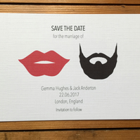 Hipster Save the dates cards moustache, glasses, lips, beard, bow tie