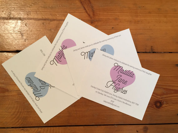 Naming ceremony invitation - Christening, baby birth announcement card or  baby s