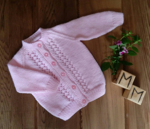 Pure Wool Hand Knitted Baby's Pink Cardigan 0-3 months