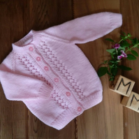 Hand Knitted Baby Girl's Pink Cardigan 3-6 months