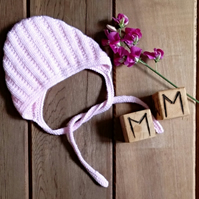 Baby's Hand Knitted Pink Bonnet