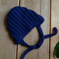 Baby's Hand Knitted Navy Blue Bonnet 3-6 months