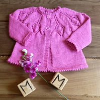Baby Girl's Rose Pink Vintage Style Matinee Coat with Matching Bonnet