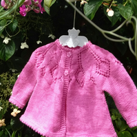 Baby's Pure Wool Hand Knitted Pink Vintage Style Matinee Coat 0-3 months
