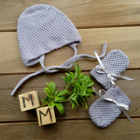 Hand Knitted Patterned Grey Baby Bonnet and Mitts 3-6 months