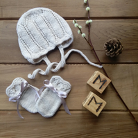 Hand Knitted Lace Patterned Baby Bonnet and Mittens