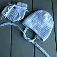 Baby's Hand Knitted Blue Bonnet and Mitts 3-6 months