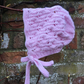 Baby's Hand Knitted Pink Traditional Style Bonnet 0-3 months
