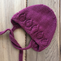 Hand Knitted Claret Bonnet 1-3 year