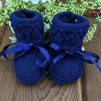 Hand Knitted Pure Wool Navy Blue Baby Booties