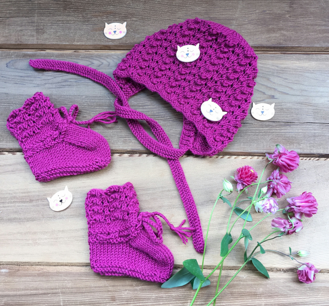 Hand Knitted Fuchsia Cashmerino Baby Bonnet and Booties
