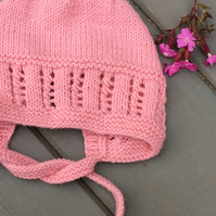 Vintage Style Coral Pink Hand Knitted Merino Wool Baby Bonnet 3-6 months