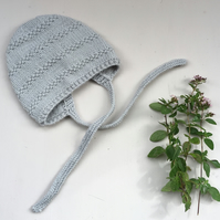Textured Pattern Knitted Baby Bonnet