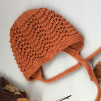 Hand Knitted Vintage Style Bonnet for Baby