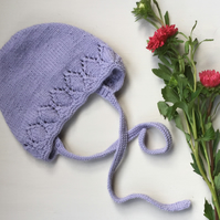 Hand Knitted Lavender Bonnet 1-3 years