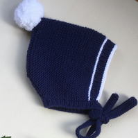 Hand Knitted  Navy Blue and White Pixie Bonnet