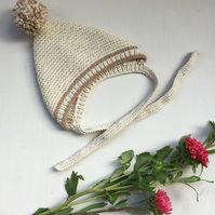 Beige Hand Knitted Baby Pixie Hat