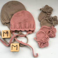 Hand Knitted Baby Bonnet and Mittens