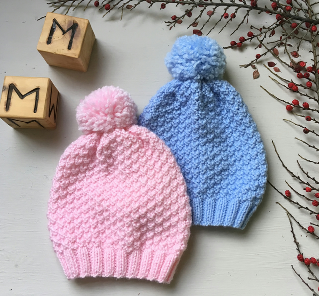 Hand Knitted Wool Bobble Hat for Babies and Toddlers