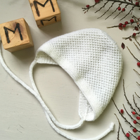 Knitted Merino Wool Bonnet for Babies