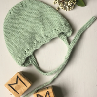 Hand Knitted Bonnet for Spring