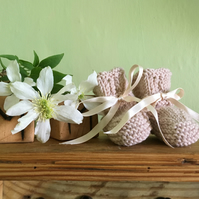 Knitted Baby Booties with Ribbon Ties
