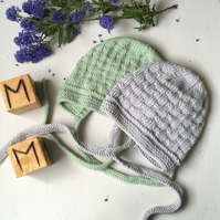 Knitted Traditional Style Bonnet for Baby