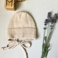 Vintage Style Merino and Cashmere Wool Baby Bonnet