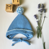 Hand Knitted Merino Wool Pixie Bonnet