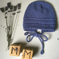 Hand Knitted Vintage Style Denim Blue Bonnet