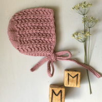 Hand Knitted Vintage Style Pink Bonnet