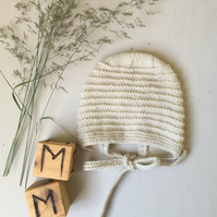 Hand Knitted Vintage Style Bonnet