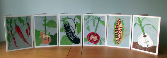 Set of 6 Vegetable Instrument Blank Greetings Cards