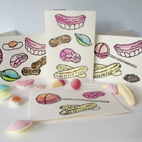 Lino Print - Set of 4 Retro Sweets Cards