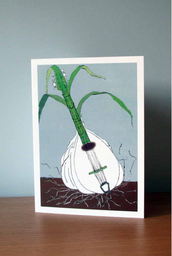 Blank Greetings Card - Garlic Mandolin