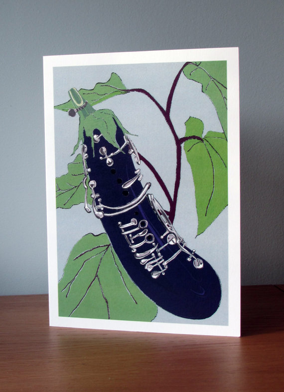 Blank Greetings Card - Aubergine Clarinet