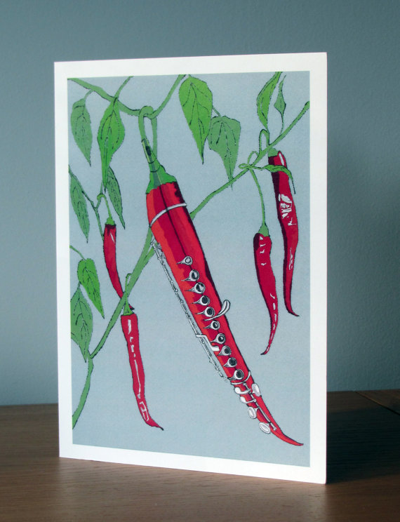 Blank Greetings Card - Chilli Flute