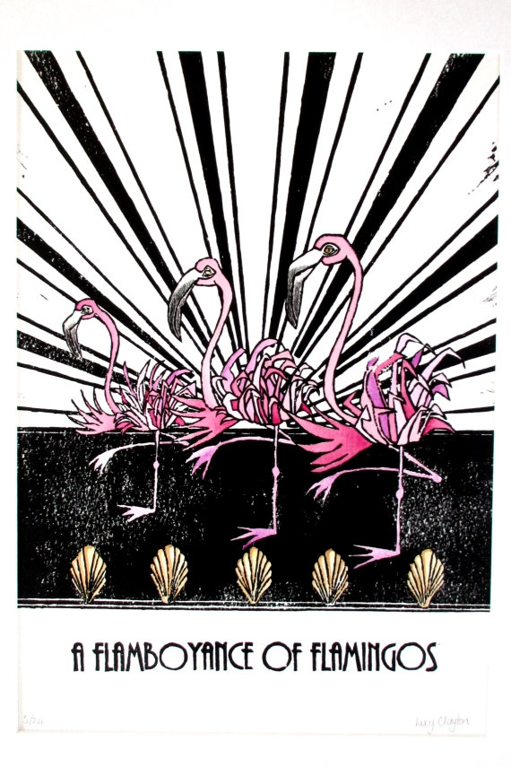 Lino Print - A Flamboyance of Flamingos