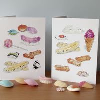 Retro Sweets Blank Greetings Cards x 2
