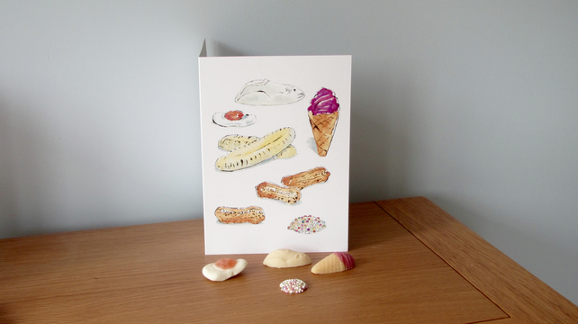 Blank Greetings Card of Retro Sweets
