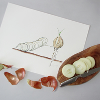 Giclee Print - Onion Vegetable Shoe Illustration
