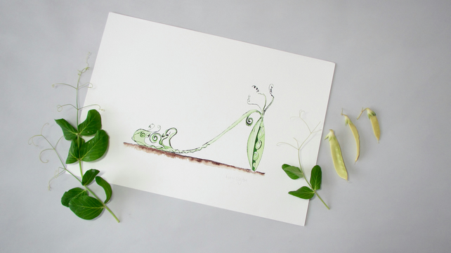 Giclee Print - Pea Vegetable Shoe Illustration